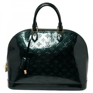 Louis Vuitton Dark Green Monogram Vernis Alma GM Bag