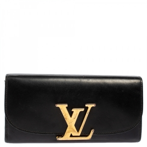 Louis Vuitton Black Veau Racine Leather Vivienne LV Long Wallet