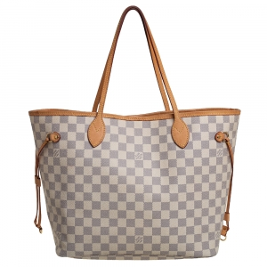 Louis Vuitton White Damier Azur Canvas Neverfull MM Tote