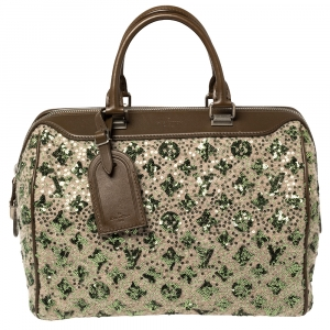 Louis Vuitton Khaki Monogram Sequin Limited Edition Sunshine Express Speedy Bag