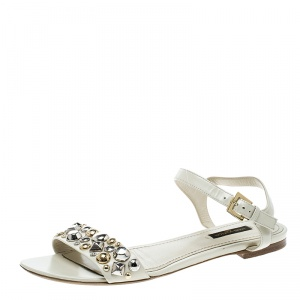 Louis Vuitton Cream Leather Studded Flat Ankle Strap Sandals Size 38.5 - used