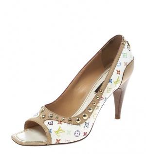حذاء كعب عالي لوي فيتون مقدمة مفتوحة فيونكة لامعة وكانفاس مونوغرامي أبيض متعدد الألوان مقاس 36