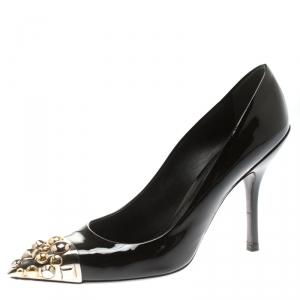حذاء كعب عالي لوي فيتون مقدمة مدببة مرصع برنيس جلد لامع أسود مقاس 37.5