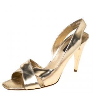 Louis Vuitton Gold Patent Leather Barbara Criss Cross Slingback Sandals Size 36.5 - used