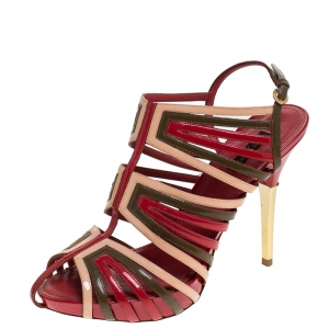 Louis Vuitton Multicolor Patent Leather Strappy Sandals Size 39 - used