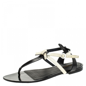 Louis Vuitton White/Black Patent Leather Seastar Thong Flat Sandals Size 41 - used