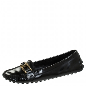 Louis Vuitton Black Patent Leather Oxford Loafers Size 39