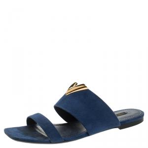 Louis Vuitton Blue Suede V Cut Flat Sandals Size 40