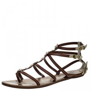 Louis Vuitton Brown/White Leather Fleurus Flower Detail Strappy Flats Sandals Size 40.5 - used