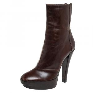 Louis Vuitton Brown Leather Platform Ankle Boots Size 37.5 - used