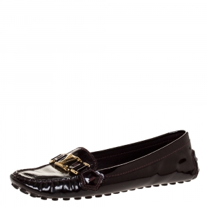 Louis Vuitton Burgundy Patent Leather Oxford Driving Loafers Size 38.5