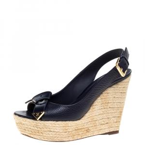 Louis Vuitton Navy Blue Leather Slingback Espadrille Wedge Platform Sandals Size 36.5