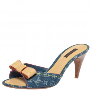 Louis Vuitton Blue Monogram Denim And Leather Bow Slide Sandals Size 38.5 - used
