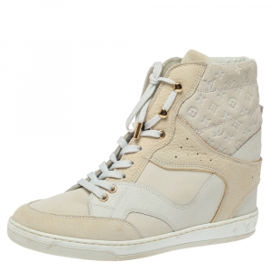 Louis Vuitton Off White Monogram Suede and Leather Cliff Top Sneakers Size 39
