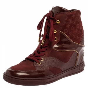 Louis Vuitton Burgundy Patent Leather and Suede Monogram Cliff Top Wedge Ankle Boots Size 39