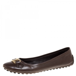 Louis Vuitton Brown Leather Oxford Ballet Flats Size 39.5 - used
