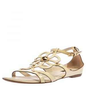 Louis Vuitton Cream Patent Leather Cutout Gloss Flat Sandals Size 39 - used