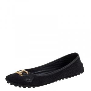 Louis Vuitton Black Suede Oxford Flats Size 37.5