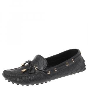 Louis Vuitton Black Monogram Empreinte Leather Gloria Flat Loafers Size 38