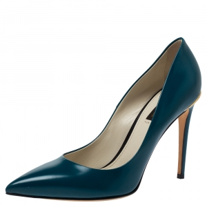 Louis Vuitton Teal Blue Leather Eyeline Pointed Toe Pumps Size 40