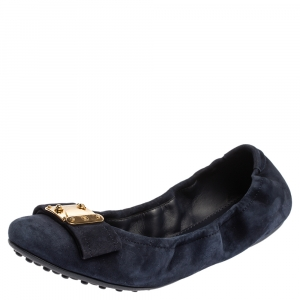 Louis Vuitton Blue Suede Scrunch Ballet Flats Size 40.5
