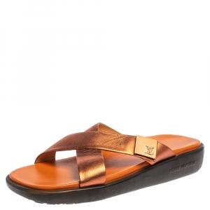 Louis Vuitton Bronze Leather Cross Strap Flat Sandals Size 40.5