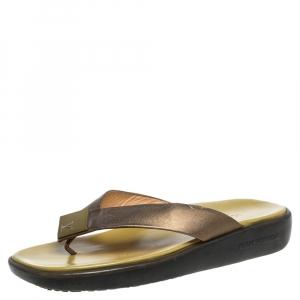 Louis Vuitton Metallic Olive Green Leather Thong Platform Flats Size 40