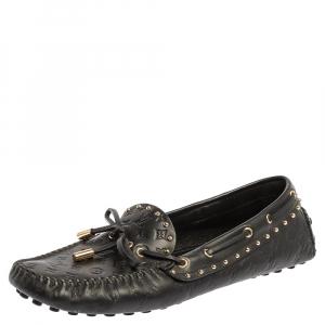Louis Vuitton Black Monogram Embossed Leather Gloria Studded Tassel Loafers Size 38