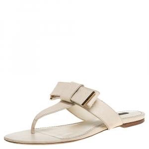 Louis Vuitton Cream Monogram Leather Bow Thong Flats Size 39.5