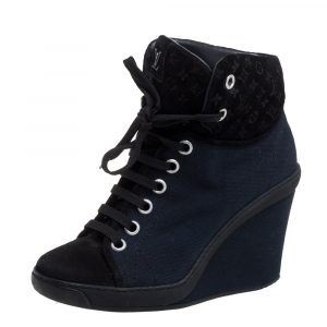 Louis Vuitton Blue/Black Monogram Suede And Canvas Batignolles Wedge Ankle Booties Size 37