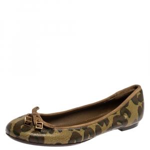 Louis Vuitton Brown/Green Leopard Print Leather Debbie Ballet Flats Size 38