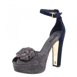 Louis Vuitton Grey/Blue Suede Rose Detail Ankle Strap Platform Sandals Size 37.5