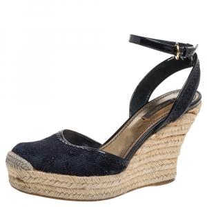 Louis Vuitton Dark Blue Monogram Denim Ankle Strap Espadrille Wedge Sandals Size 37.5