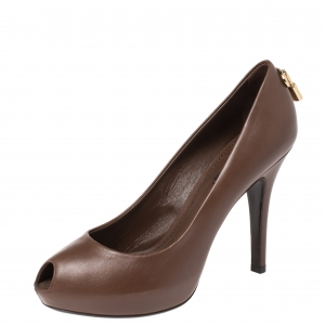 Louis Vuitton Brown Leather Oh Really! Peep Toe Platform Pumps Size 38
