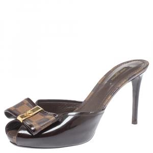 Louis Vuitton Brown Patent Leather with Damier Ebene Canvas Bow Peep Toe Platform Slides Size 39