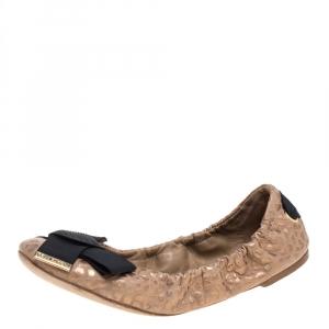 Louis Vuitton Beige Foil Leather Sprouse Bow Detail Scrunch Ballet Flats Size 37.5