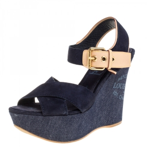 Louis Vuitton Blue/Brown Criss Cross Denim and Leather Ankle Strap Wedge Platform Sandals Size 37.5