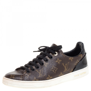 Louis Vuitton Monogram Canvas and Black Patent Leather Frontrow Low Top Sneakers Size 39