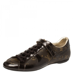 Louis Vuitton Brown Patent Leather And Monogram Canvas Lace Up Sneakers Size 39