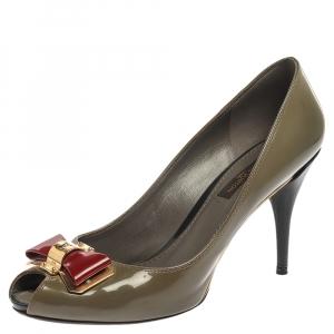 Louis Vuitton Tan Green Patent Leather Lou Peep Toe Pumps Size 37