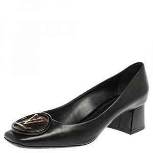 Louis Vuitton Black Leather Madeleine Block Heel Pumps Size 39