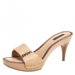 Louis Vuitton Beige Leather Wooden Slides Size 37.5