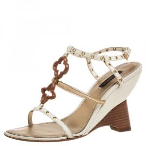 Louis Vuitton Tri Color Leather Eyelet T-Strap Wedge Sandals Size 37.5