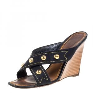 Louis Vuitton Black Canvas Studded Wedge Cross Strap Sandals Size 38