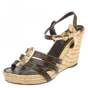 Louis Vuitton Monogram Canvas and Metallic Gold Leather Bahamas T Strap Espadrille Wedge Sandals Size 39