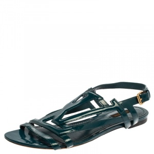 Louis Vuitton Teal Blue Patent Leather Crossing Logo Flat Sandals Size 40