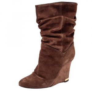 Louis Vuitton Brown Suede Cate Mid Length Wedge Boots Size 37 - used
