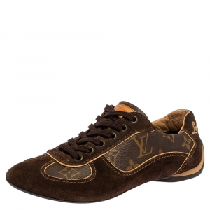 Louis Vuitton Brown Suede And Monogram Canvas Energie Low Top  Sneakers Size 35