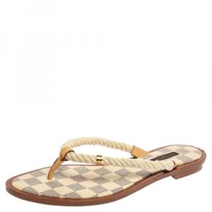 Louis Vuitton White Cotton Blend Damier Azur Rope Thong Flats Size 38.5