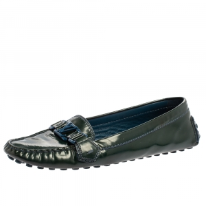 Louis Vuitton Green Patent Leather Oxford Flats Size 40 - used